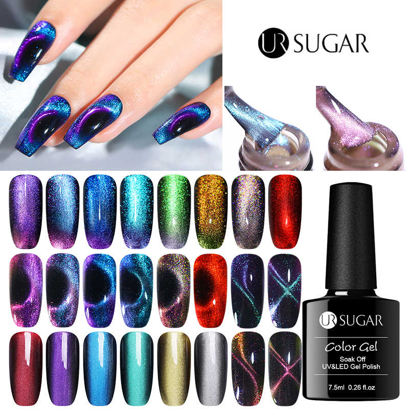 UR Gula 9D Cat Eye Uv Gel Nail Polish Glitter 5D Magnetic Gel Varnish Rendam Off UV LED Semi Permanen nail Varnish