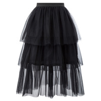 Curlbiuty Women's Skirt Tulle Netting Elastic Waist Three Tiers Double Layers a line solid black lace 2019 new ladies skirt
