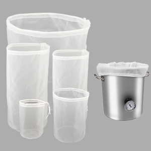 Reusable Brewing Filter Bag Drawstring Straining Cylinder Beer Wine Homebrew Filtering Fine Nylon Mesh Strainer 120 Mesh Bags