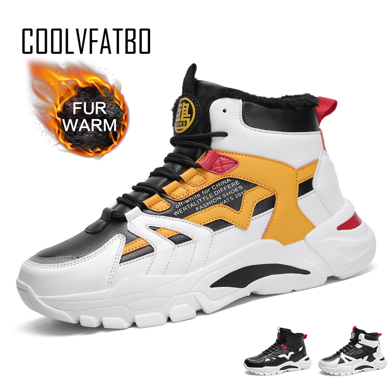 COOLVFATBO Winter Snow Boots Men Trend Casual High Top Shoes Male Outdoor Chunky Sneakers Men Classic Sport Basketball Shoes