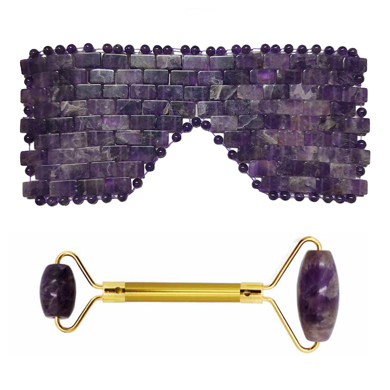 Amethyst Jade Massager Cold Therapy Mask Sleeping Eye Mask Cooling Masks Face Roller Facial Massager Stone Face Massage Tool Set