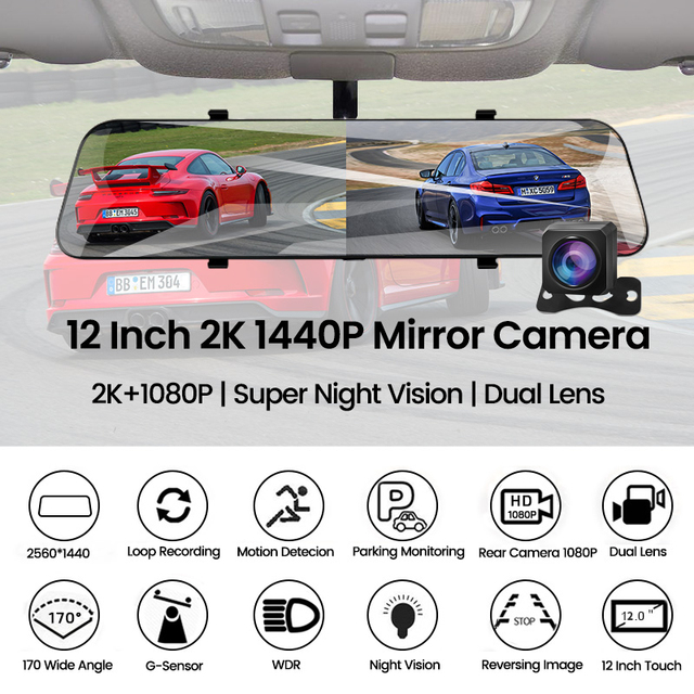 Car 12 inch stream media rearview mirror night vision video recorder 1080p
