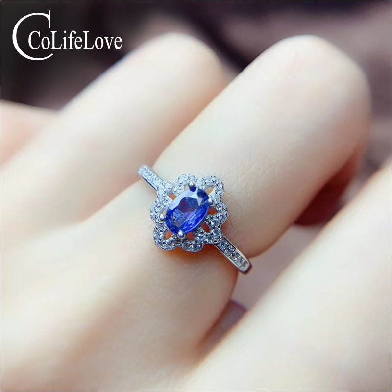 CoLife Jewelry 925 Silver Sapphire Ring for Wedding 100% Natural Light Blue Sapphire Silver Ring Sapphire Jewelry Gift for Woman