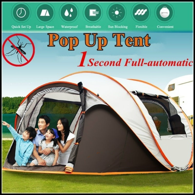 3-4 Persons Camping Tent Waterproof Auto Setup UV Sun Shelters Outdoor Hiking
