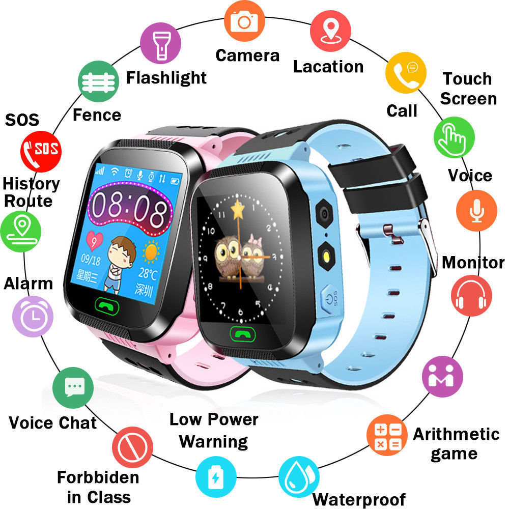 Y21 Touch Screen Kids GPS Watch With Camera Lighting Smart Watch Sleep Monitor GPRS Locator Tracker Anti-Lost Smartwatch