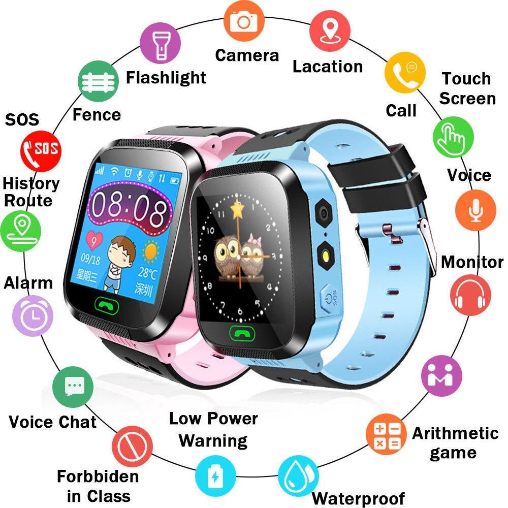 Y21 Touch Screen Kids GPS Watch with Camera Lighting Smart Watch Sleep Monitor GPRS Locator Tracker Anti-Lost Smartwatch