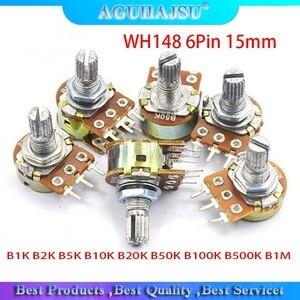 5pcs B1K B2K B5K B10K B20K B50K B100K B500K B1M 6Pin Shaft WH148 15mm Potentiometer 1K 2K 5K 10K 20K 50K 100K 500K 1M