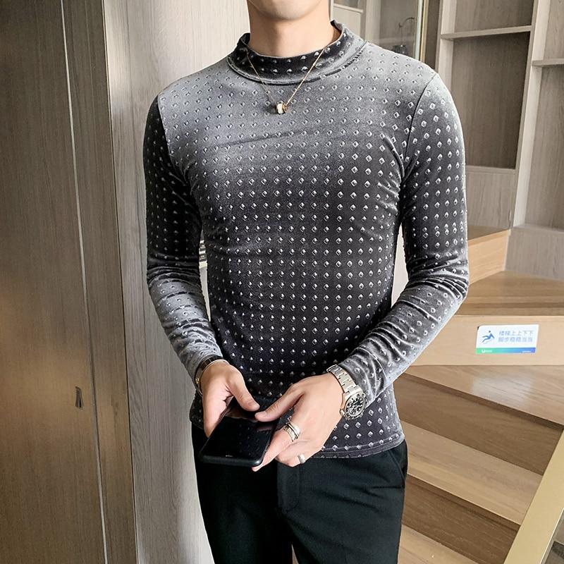 2019 New Men's Korean Version Of The Self-cultivation Long-sleeved Bottoming Shirt Trend Men's Gold Velvet Print T-shirt