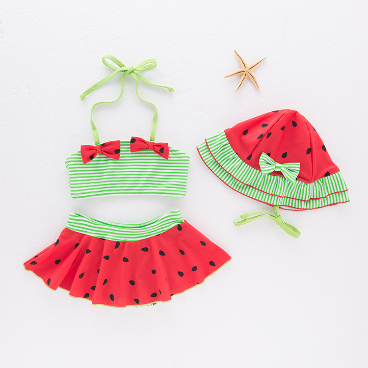 KID'S Swimwear Girls' Two-piece Swimsuit New Style Watermelon Halter Swimwear Children Skirt Bathing Suit With Cap 3 Pieces