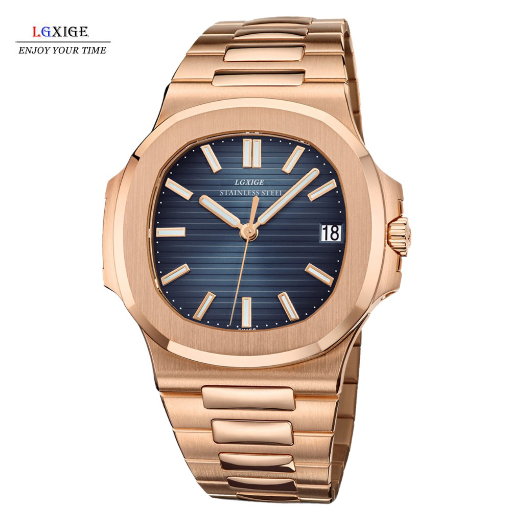 Man Watch  2018 Top Brand LGXIGE Watch Men Sports Watches Date Waterproof Gold Full Stainless Steel Watch Gifts