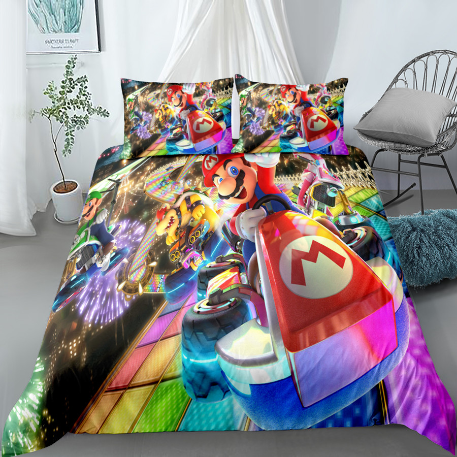 Набор постельного белья для мальчиков mario kart 8, Комплект постельного белья king queen с двумя односпальными размерами