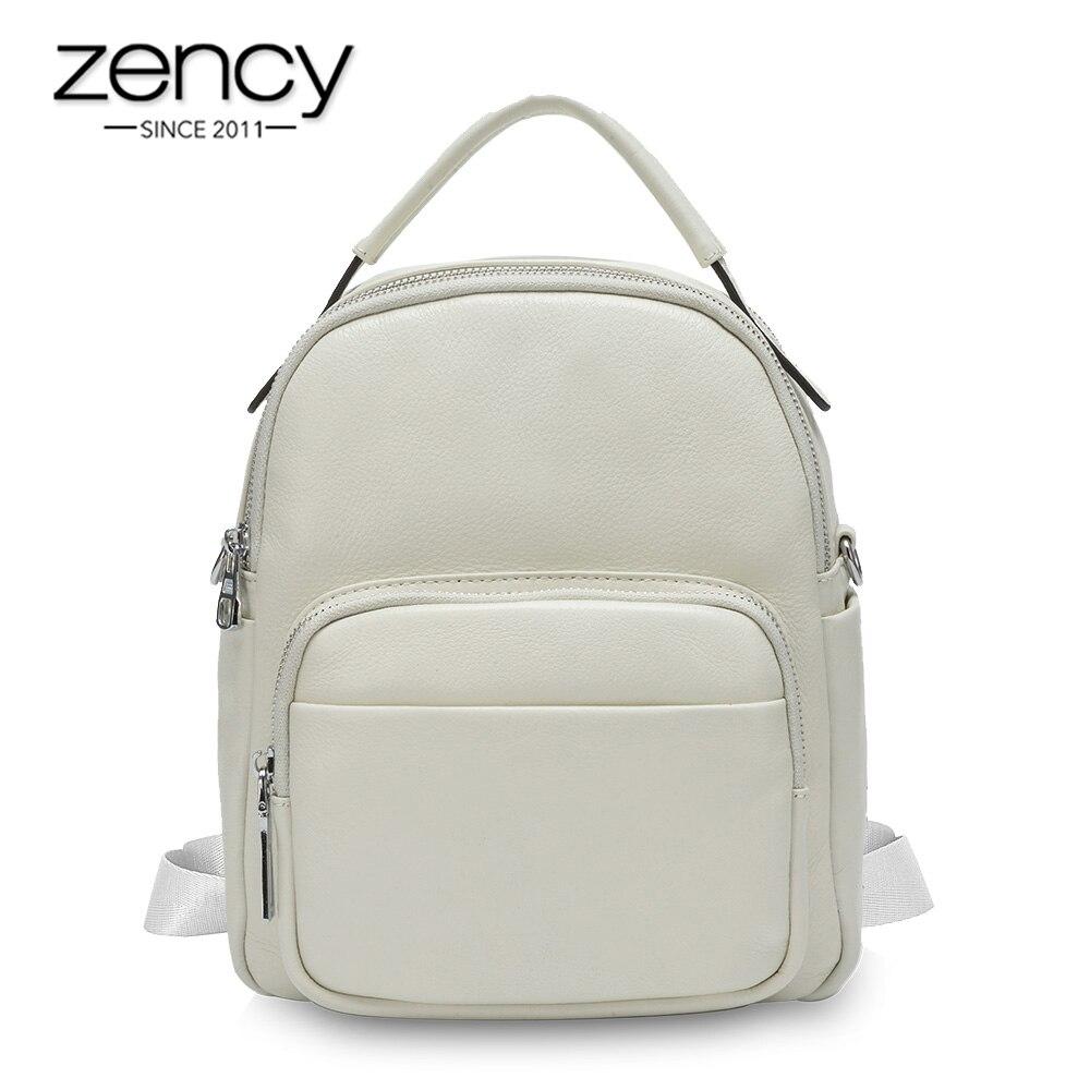 Zency 100% Genuine Leather Fashion Women Backpack Black Beige Daily Casual Travel Bag Preppy Style Schoolbag Lady Knapsack