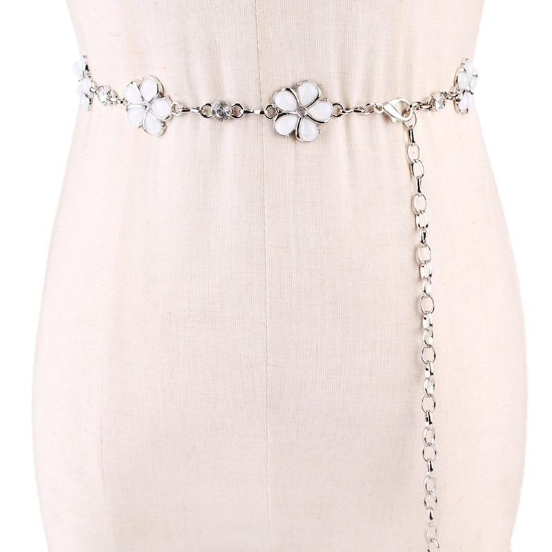 Fashion Elegant Women Imitation Pearl Belts Alloy Chain Belts Black White Imitation Pearl Chain Women Clothing Accessories ML128