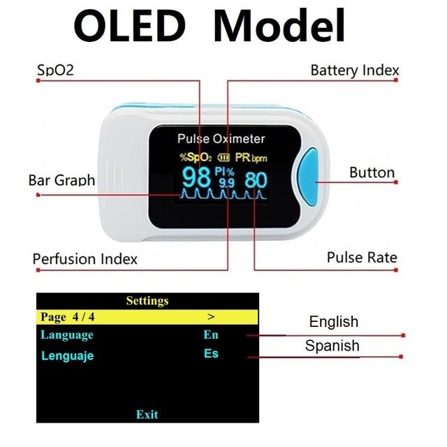 Fingertip Pulse Oximeter De Dedo Pulso Oximetro Home family Pulse Oxymeter Pulsioximetro finger pulse oximeter CE LED OLED 4