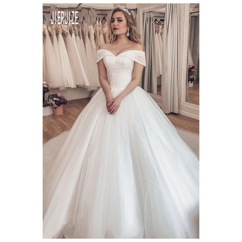 Super Sale E16fb0 2020 Luxury Pearl Wedding Dresses Tulle Chapel Train Vestido De Noiva Sweetheart African Wedding Gowns Cicig Co