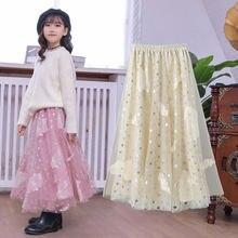 Детские юбки для девочек; Сетчатая юбка; Коллекция 2021 года;