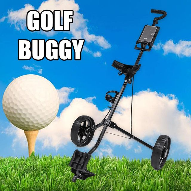 Golf Pull Cart Iron Black Adjustable Golf Trolley Cart 2 Wheels Push Pull Golf Cart Aluminium Alloy Foldable Trolley With Brake 3