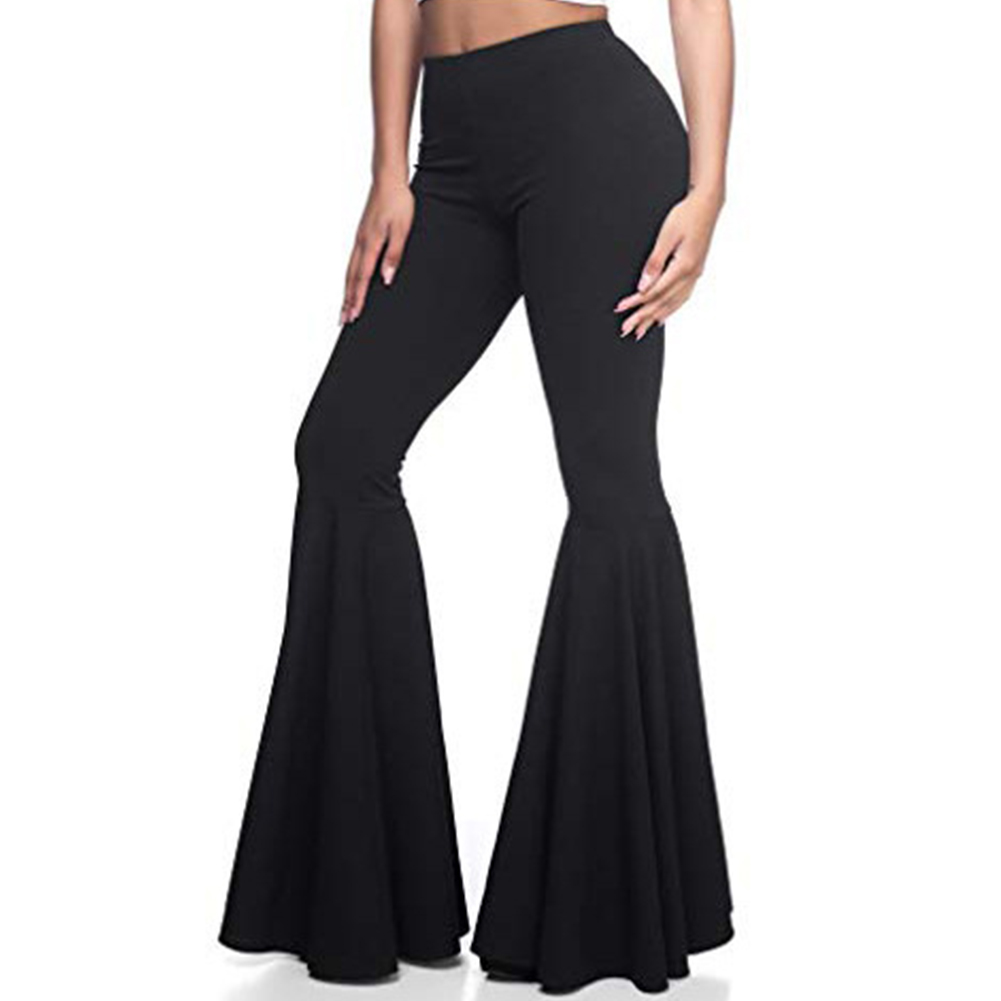Women Trousers Bell-Pants Wide Leg Stretchy-Bottom Elegant Long High-Waist Casual Fashion title=