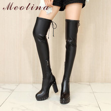 Купить с кэшбэком Meotina Winter Thigh High Boots Women Genuine Leather Platform Thick Heel Over The Knee Boots Sexy Super High Heel Shoes Lady 41