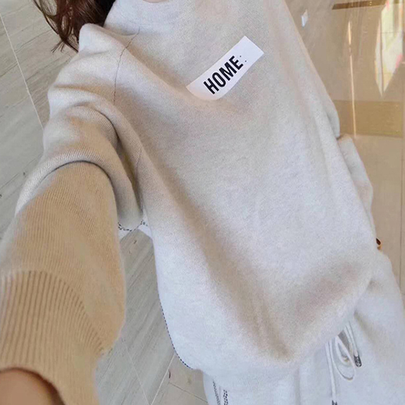 2019 Winter Thicken Women Knitted Two Piece Sets Outfits Women Sweater Pullover And Harem Pants Suits Casual Fashion 2 Pcs Sets 34