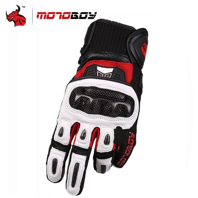 MOTOBOY Motorcycle Gloves Carbon Fibre Motocross Gloves Sheepskin Moto Gloves Touch Function Motorbike Gloves Guantes Luvas
