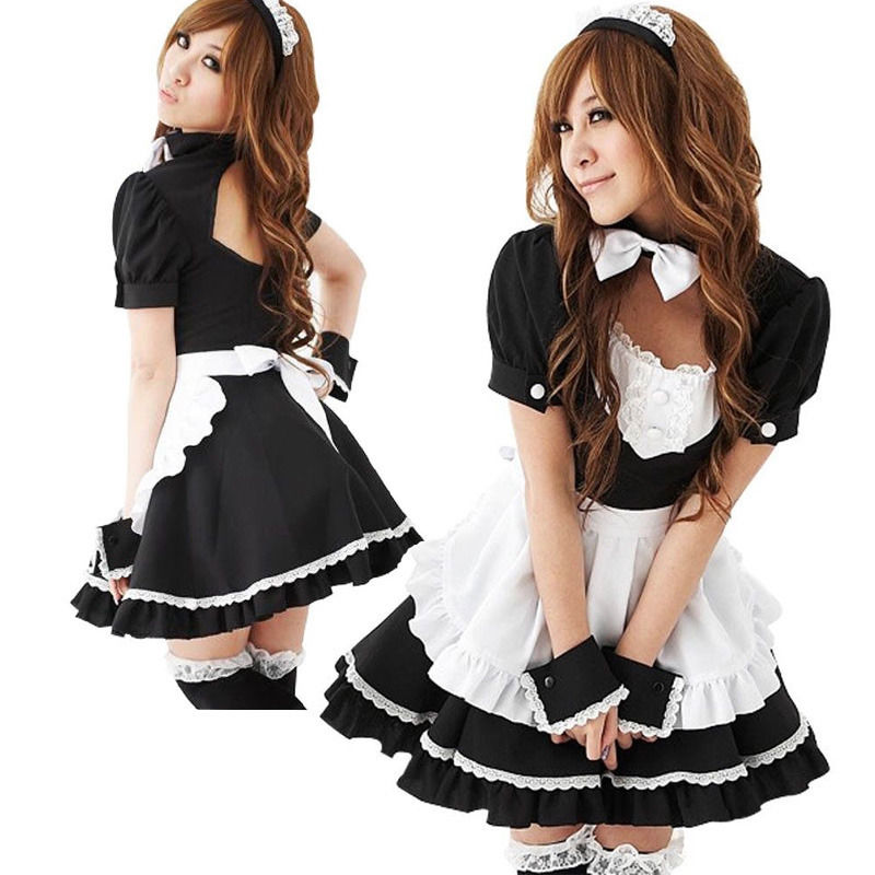 Sexy French Maid Costume Sweet Gothic <font><b>Lolita</b></font> Dress Anime Cosplay Sissy Maid Uniform Halloween Costumes For Women image