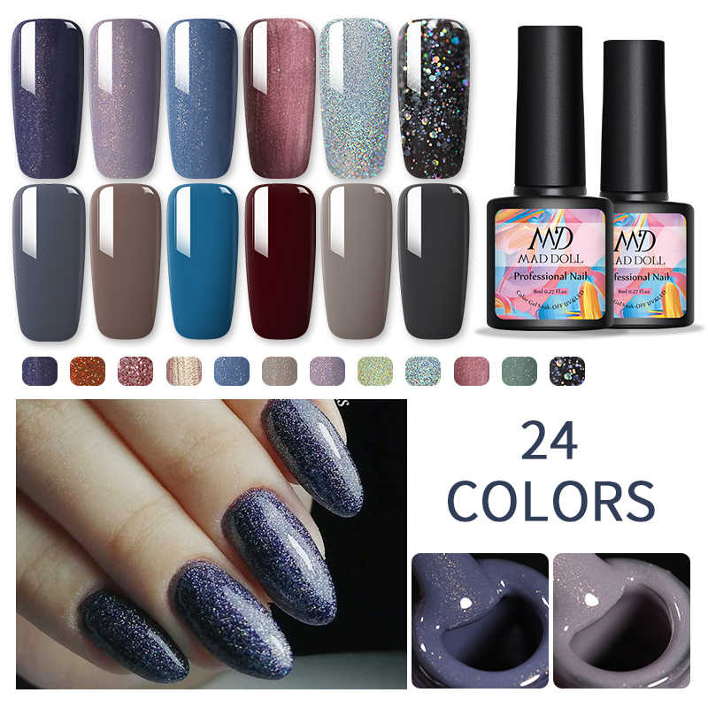 Esmalte de uñas en Gel con purpurina uñas brillantes Gel barniz Gel brillante DIY decoración de uñas 8ml