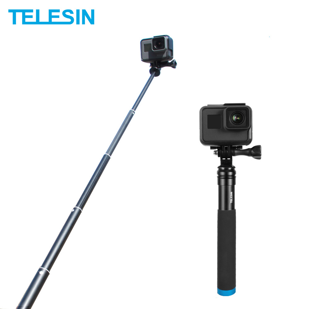 TELESIN Aluminum Alloy Extendable Handheld Selfie Stick Telescoping Pole For GoPro Hero 8 7 6 5 OSMO Action Xiaomi YI SJCAM Eken