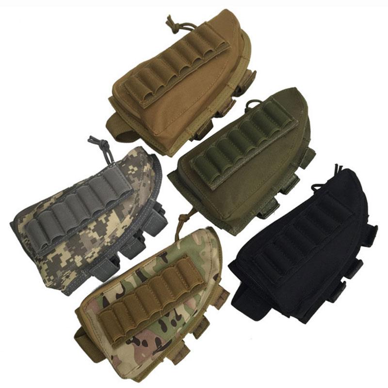 Tactical Ammo Pouch Cartridge Shell Holder Adjustable Rifle Shotgun Buttstock Cheek Rest Shooting Pad Hunting Gun Accessories image