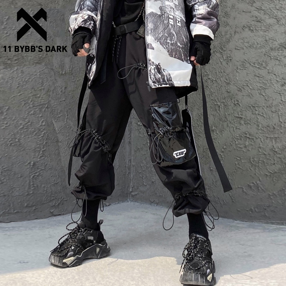 11 BYBB'S DARK Hip Hop Multi Pockets Harness Loose Harem Cargo Pants Men 2019 Harajuku Casual Streetwear Joggers Male Trousers
