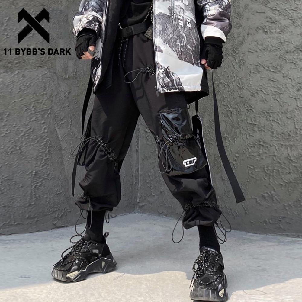 11 BYBB'S DARK Hip Hop Multi Pockets Harness Loose Harem Cargo Pants Men 2019 Harajuku Casual Streetwear Joggers Male Trousers