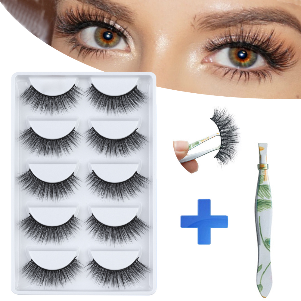 MB New 5 Pairs 3d 100% Mink Lashes Handmade False Eyelash Thick Soft Volume Mink Eyelashes Set Faux Cils Natural