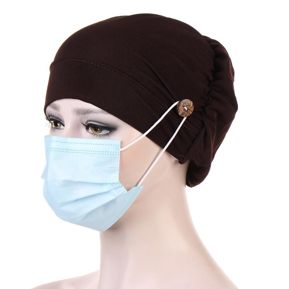 2020 Multicolor Muslim Turban Caps For Women Fashion Button Linen Inner Hijab Cap Wrap Head Scarf Hijabs Bonnet Ready To Wear
