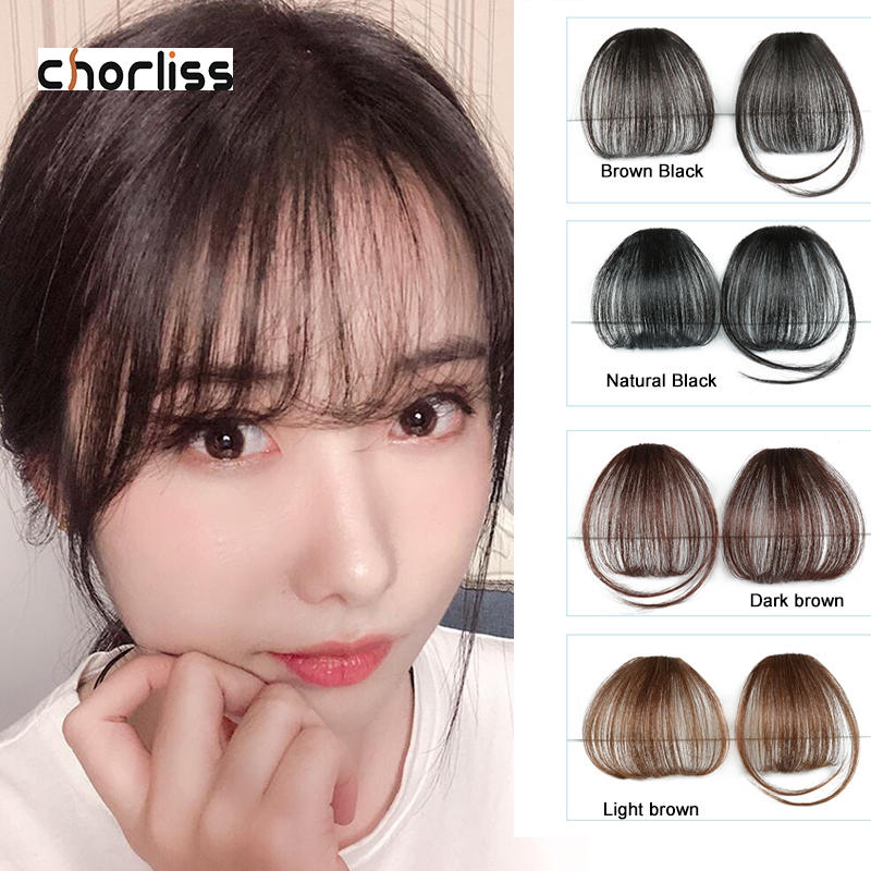 Chorliss Synthetic Bangs Clip In Hair Bangs Hairpiece Synthetic Fake Bangs Hair Piece Clip In Hair Extensions Blone Black Brown