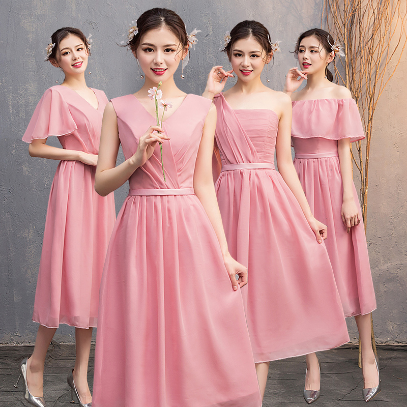 Chiffon Pink Bridesmaid Dress Tea-Length V-neck Maid Of Honor Dress For Weddings Party Sexy Dress Prom Azul Royal Vestidos Mujer