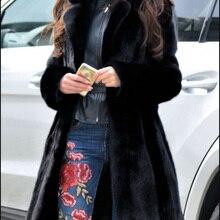 Зимнее женское пальто из искусственного меха, роскошное длинное меховое пальто, Свободное пальто с отворотом, толстое теплое женское плюшевое пальто больших размеров, верхняя одежда