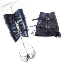 Leather Leg Binder Cuffs BDSM Bondage Restraint Straitjacket Kits PU Leather Bound Leg Straps Ankle Foot Harness Slave Sex Toys(China)