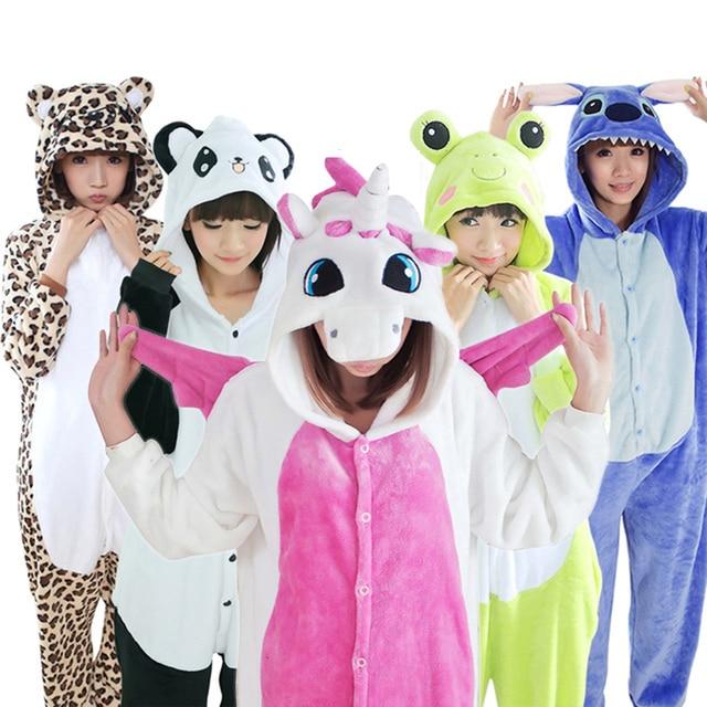 Women Animal Kigurumi Unicorn Pajamas Sets Flannel Stitch Pajamas onesies for adults Winter Nightie Pyjamas Sleepwear Homewear
