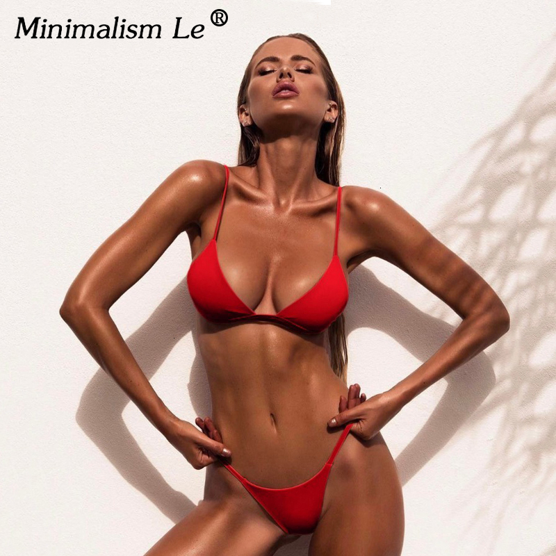 Sexy High Cut Bikini Set Women Solid Swimwear Micro Thong Swimsuit Bathing Suit Brazilian Bikinis Summer Beachwear Biquini