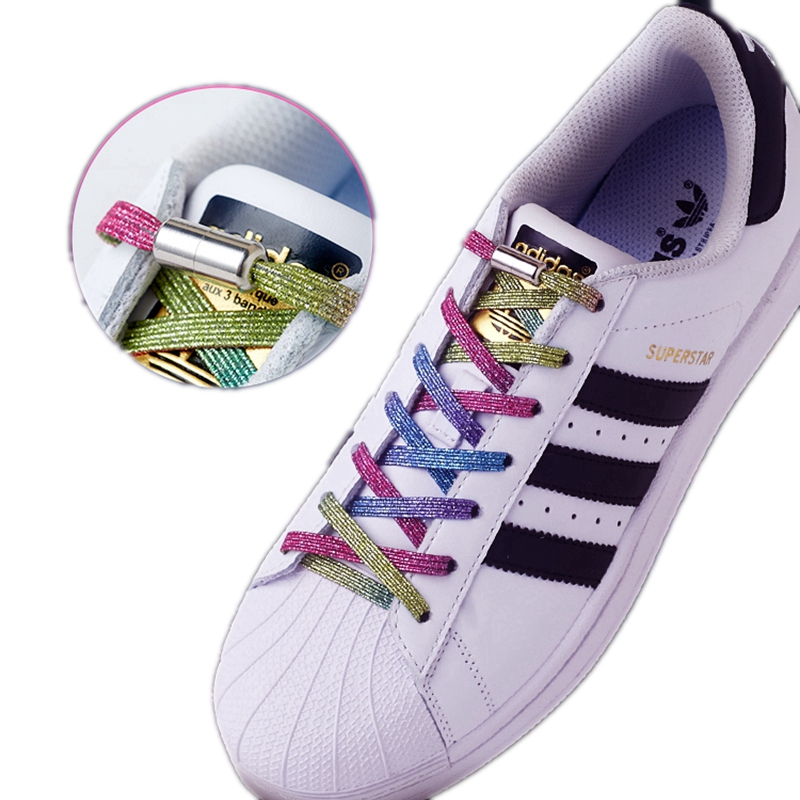 Multicolor Elastic Shoe Laces Round Metal Lock Convenient No Tie Shoelaces Suitable For All Kinds Of Shoes Unisex Shoestring