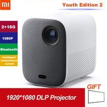 Xiaomi Mijia Youth Edition 2 Draagbare Mini LED projector LED 1080P Full HD DLP Home Theatre systeem 2GB 16GB Bluetooth Spraakbesturing MIUI TV video Beamer 460 ANSI Lumens APP Intelligente temperatuurregeling