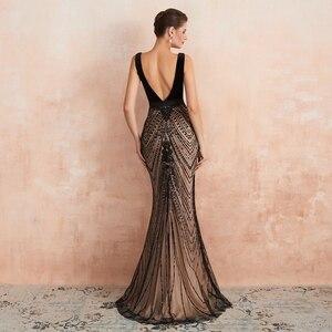 Image 2 - Robe de soirée longue noire avec traîne, robe de bal, style sirène, avec décolleté en dentelle, paillettes, robe de bal, style dubaï, 2020