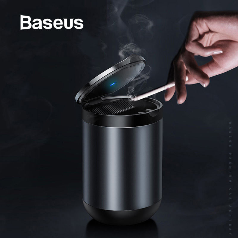 Baseus Portable Car Ashtray LED Light Cigarette Smoke Ashes Holder Flame Retardant High Quality Ash Tray Car Accessories