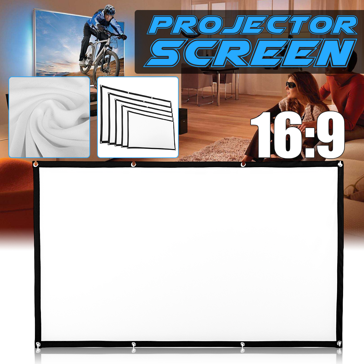 60//84//100//120/'/' Foldable 1080P Hanging Projector Home Movie Screen 16:9 3D HD 4K