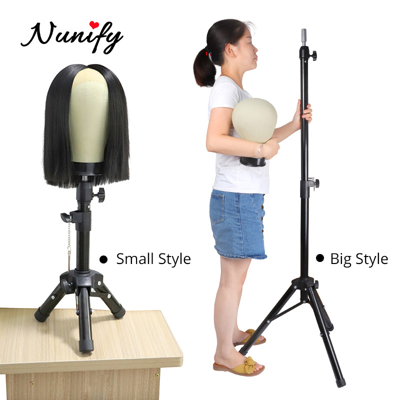 Mannequin Head Tripod Wig Holder Black Adjustable Tripod Stand Holder For Training Head Mini Normal Two Size Strong Wig Stand