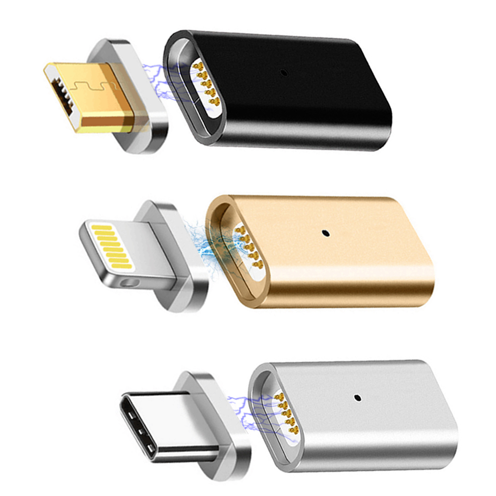 Metal Micro USB Magnetic Charging Data Adapter Converter 3in For SAMSUNG S9 S8 S7 Edge HTC Xiaomi HUAWEI LG ASUS Android TYPE-C