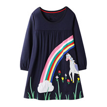 Toddler Girls Dresses Children Princess Dress Rainbow Appliques 2019 Autumn Kids Long Sleeve Unicorn Dress Baby Girl Clothes(China)