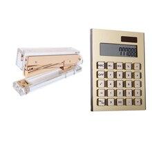 Oro Giallo Acrilico Set da Scrivania Assortimento Oro E Acrilico Chic Cucitrice + Energia Solare Calcolatrice da Tavolo Kit