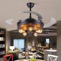 Ventilador de teto controle remoto luz invisível retrátil 42 polegada retro fã folha lâmpada dobrável luzes sala estar quarto e27