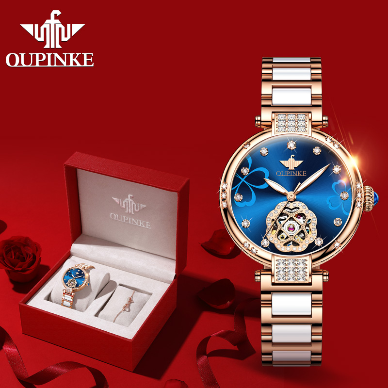 2020 New OUPINKE Top Brand Ladies Fashion Watch Lucky Goddess Automatic Flash Diamond Watch Stainless Steel Ceramic Strap Watch 1